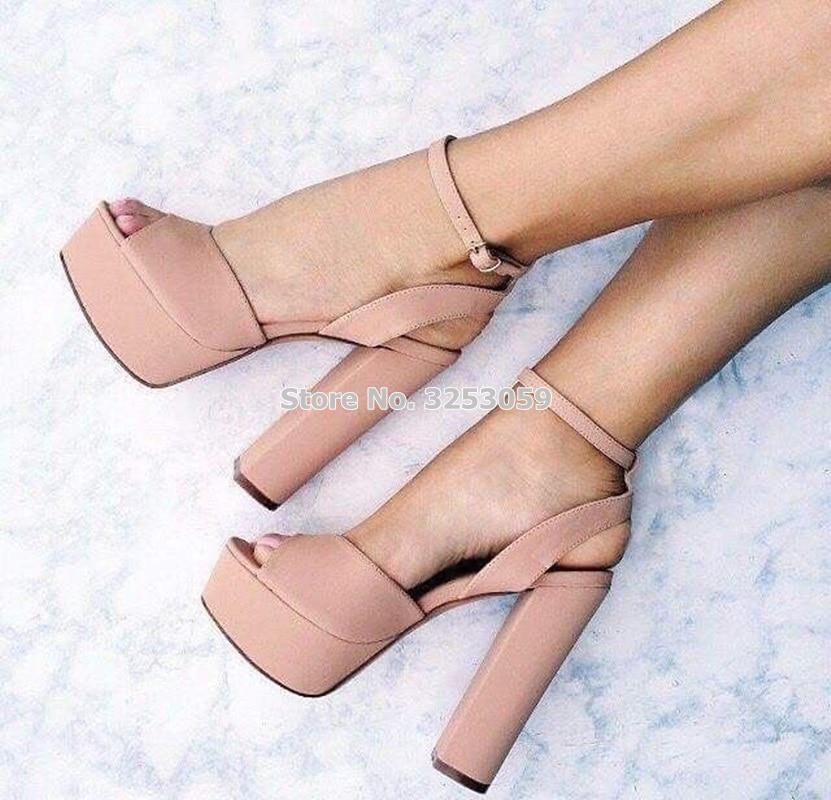 Women High Heel Sandals Ankle Strap Peep Toe Thick Heel Sandals Womens Sandal