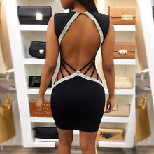 Women Bandage Bodycon Sleeveless Backless Party Cocktail Club Short Mini Dress(China)