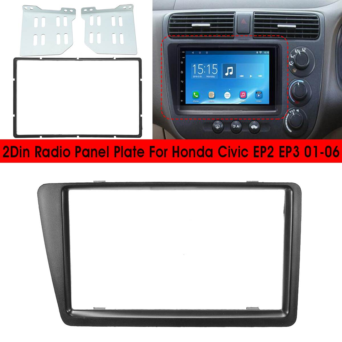 RHD <font><b>2</b></font> <font><b>Din</b></font> Car Radio Fascia Fascias Panel Frame CD DVD Dash Audio Cover Trim For Honda For Civic EP2 EP3 <font><b>2001</b></font> 2002 2003 2004 2005 image