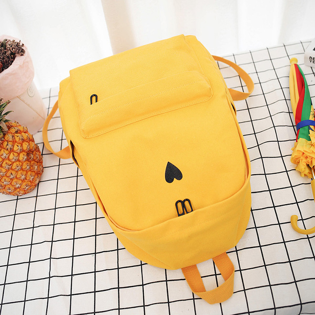 High Quality Canvas Printed Heart Yellow Backpack