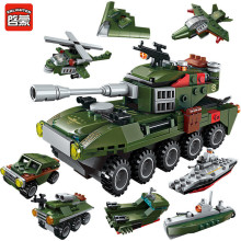 8Pcs/lot Military Army Cars Airplane Destroyer Weapon Gun Bricks LegoINGLs Technic Building Blocks Playmobil Toys for Children