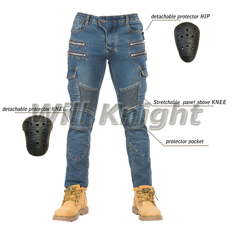 Riding Motorcycle Jeans Slim Fit Leisure Pants Hidden Side of The Knee Protector Blue 2017 men s fashion pure color fine casual jeans men high quality slim leisure jeans male blue black pencil pants jeans pants