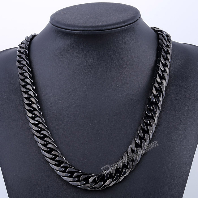 16mm Silver/Gold/Black Tone Curb Link 316L Stainless Steel Necklace Fashion Mens Chain Jewelry Wholesale Dropshipping DLHN79-81