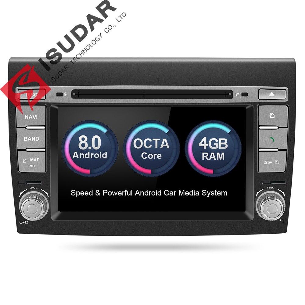Isudar Voiture Lecteur Multimédia Android 8.0 GPS 2 Din Système Stéréo Pour Fiat/Bravo 2007-2012 Octa Core 4 gb RAM Radio am fm Wifi USB