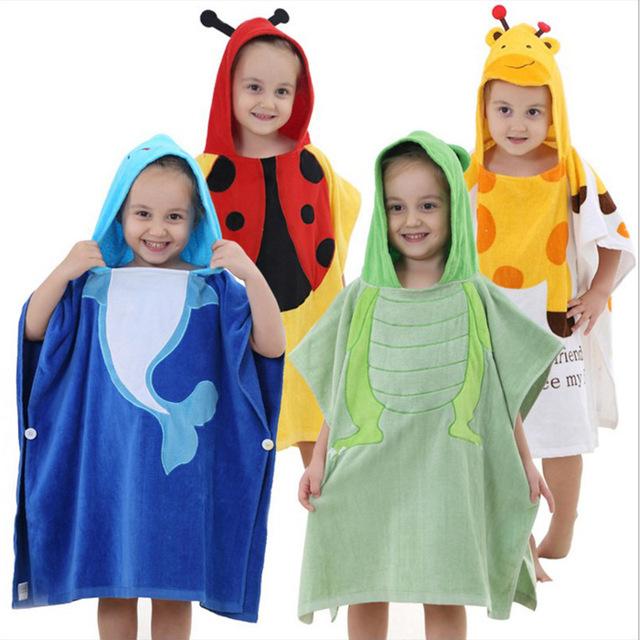 Casa Crianças Roupão de Banho Com Capuz Toalha Animal Dos Desenhos Animados Crianças Infantil Roupão de Banho Do Bebê Manto YL161