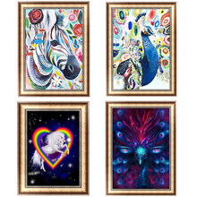5D Round Diamond Cross Stitch Abstract Animal Decoration Diy Picture Oil Painting Home