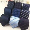 Formal Listrado Dot Laço Dos Homens da Festa de Casamento de 8 cm de Largura Acessórios de Moda de Nova Clássico Gravatas Gravatas Gravata Azul Marinho À Prova D' Água