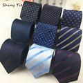 Formal Striped Dot Mens Tie 8cm Width Wedding Party Waterproof NeckTies Navy Blue Tie Fashion New Accessories Classic Neckwear
