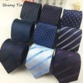 Formal de Rayas Dot Mens Tie 8 cm Ancho Corbatas Corbata Azul Marino de Moda Nuevos Accesorios Del Banquete de Boda A Prueba de agua Classic Corbatas