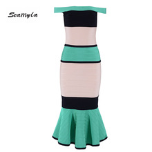 Mermaid Vestidos Verano Women Bodycon Bandage Dresses Sexy Mid Calf Celebrity Party Dress