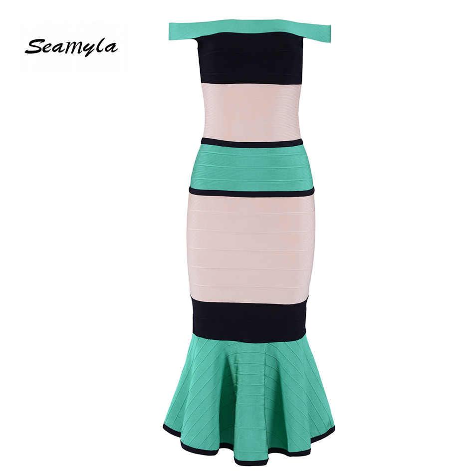 Seamyla новое летнее платье Vestidos Verano 2019 женское облегающее сексуальное обвязанное платье до середины икры русалка вечерние элегантные платья