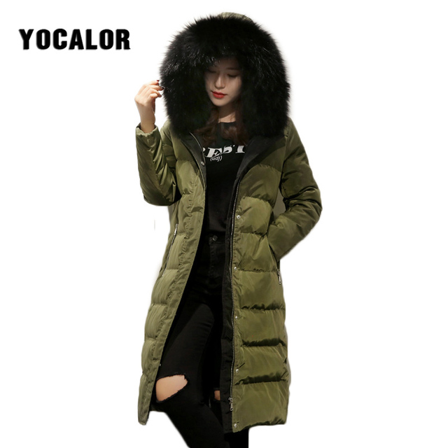 75c68fab4a7 YOCALOR Winter Real Raccoon Fur Collar Warm Fashion Long Down Women Coat  Jackets Korean Puffer Jacket Goose Feather Duck Furry