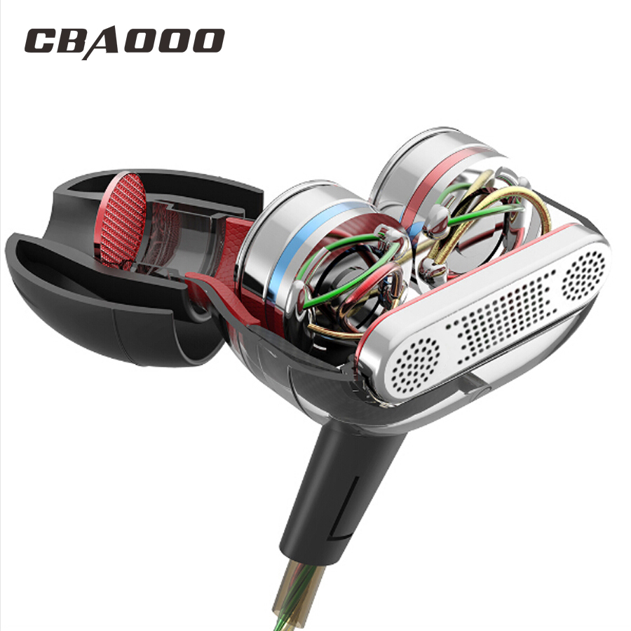 Dual drive Earphone 3.5mm wired hifi Stereo headset double unit earphone with Mic for smart phone xiaomi samsung