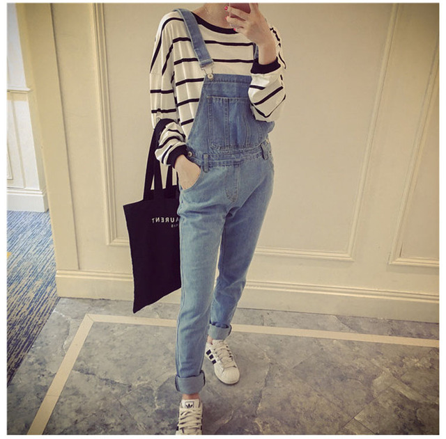 94e9d212a356 Korean Style Summer Denim Jumpsuits 2019 Fashion Women s Overalls Female  Hole Preppy Style Loose Slim Denim Strap Trousers