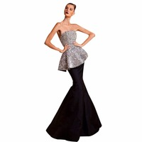 ZYLLGF Bridal Strapless Black Sexy Long Prom Dress Long Mermaid Style Sequins Beaded Evening Party Dress