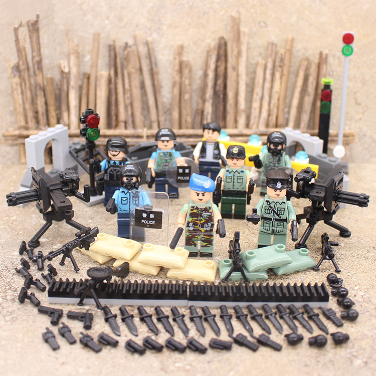 8pcs SWAT World War 2 Soldier Military Weapon City Police Gun Army Building Block Figure Brick Boy Educational Toy children Gift
