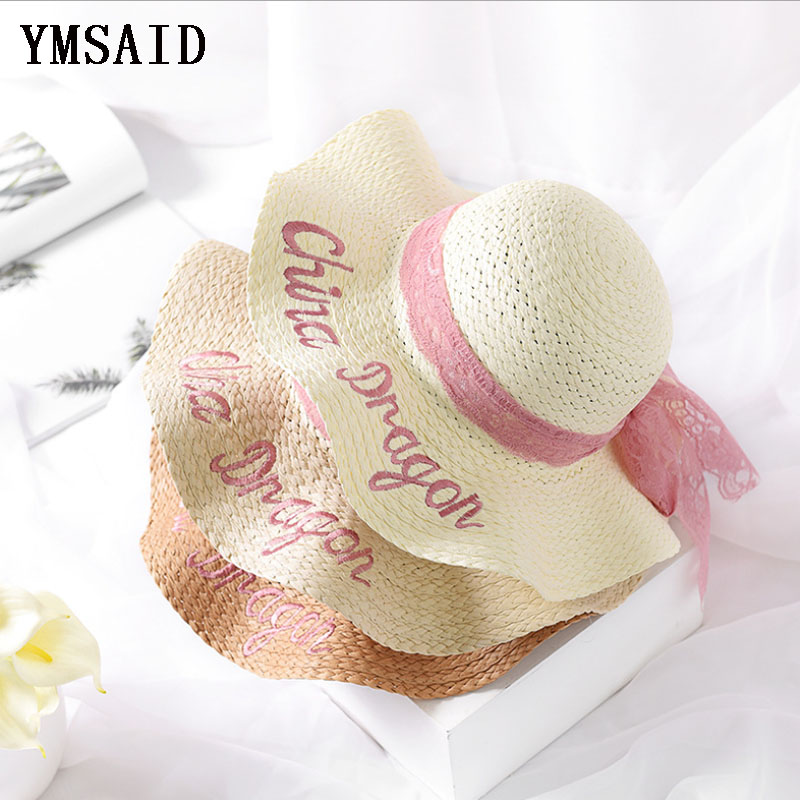 Handmade Weave Raffia Sun Hats Women Pink Ribbon Lace Large Brim Straw Hat Outdoor Beach Summer Embroidery Caps Chapeu Feminino