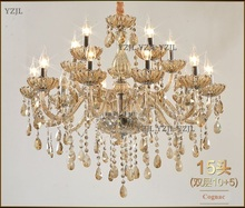 10/15 Candle crystal pendant chandeliers double floor dining room big chandelier lighting hall lamp