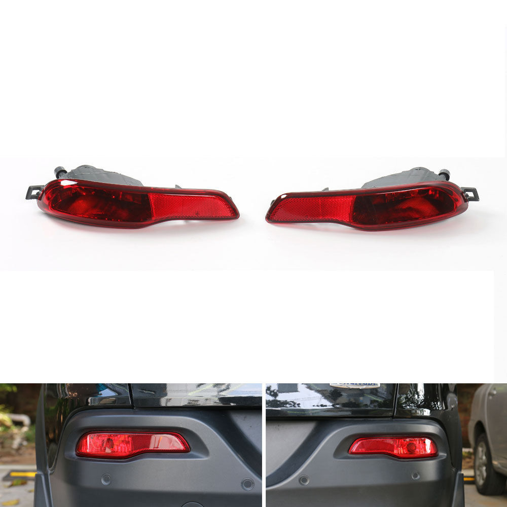 BBQ@FUKA 2Pcs Auto Rear Bumper Fog Light Lamp Housing Left + Right ABS Fit For 2014-2016 Cherokee Car-Styling Car Accessories 2pcs auto right left fog light lamp car styling h11 halogen light 12v 55w bulb assembly for ford fusion estate ju  2002 2008