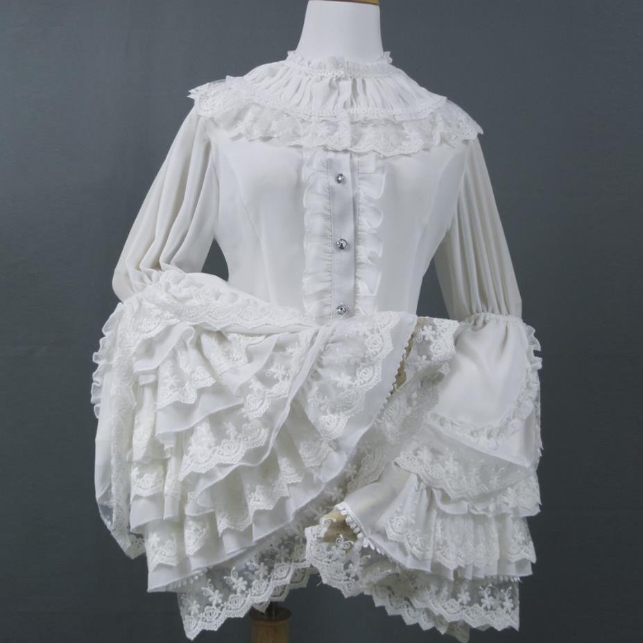 2019 printemps automne Vintage manches longues évasées blouse femmes imprimé dentelle à volants col chemise haute