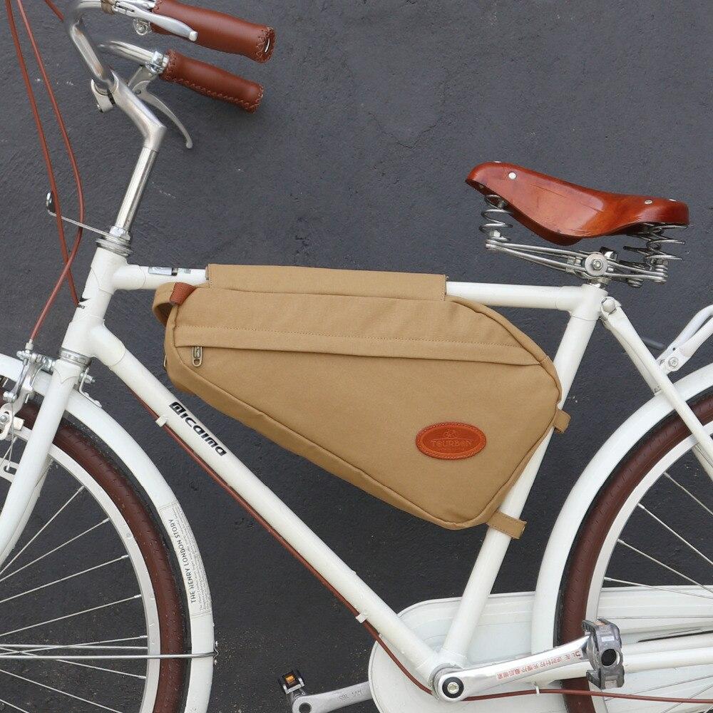 Tourbon Rétro Vélo Sac Vélo Cadre Tube Triangle Sacs à Bandoulière Kaki Ciré Toile Imperméable pour Banlieue Vélo Accessoires