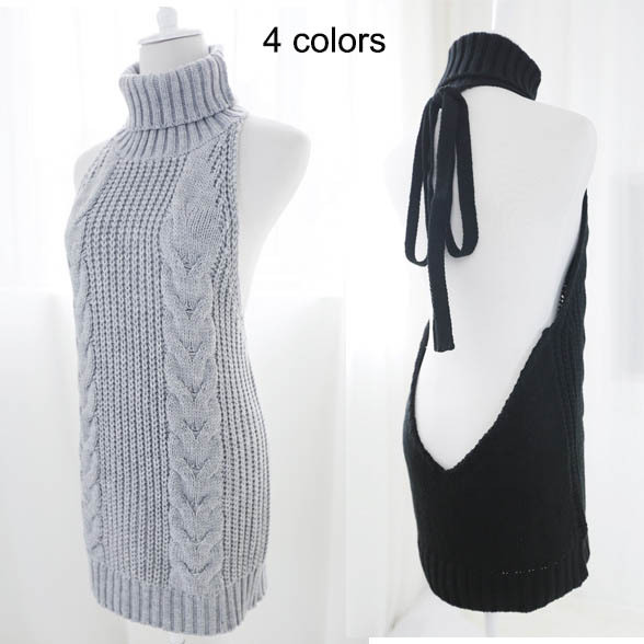 940514bcd22 2017 Hot Japan Sexy Sleeveless Tie Open Back Backless Sweater Sleep Dress  Anime Cosplay Reversible Long Turtleneck Vest 4Colors