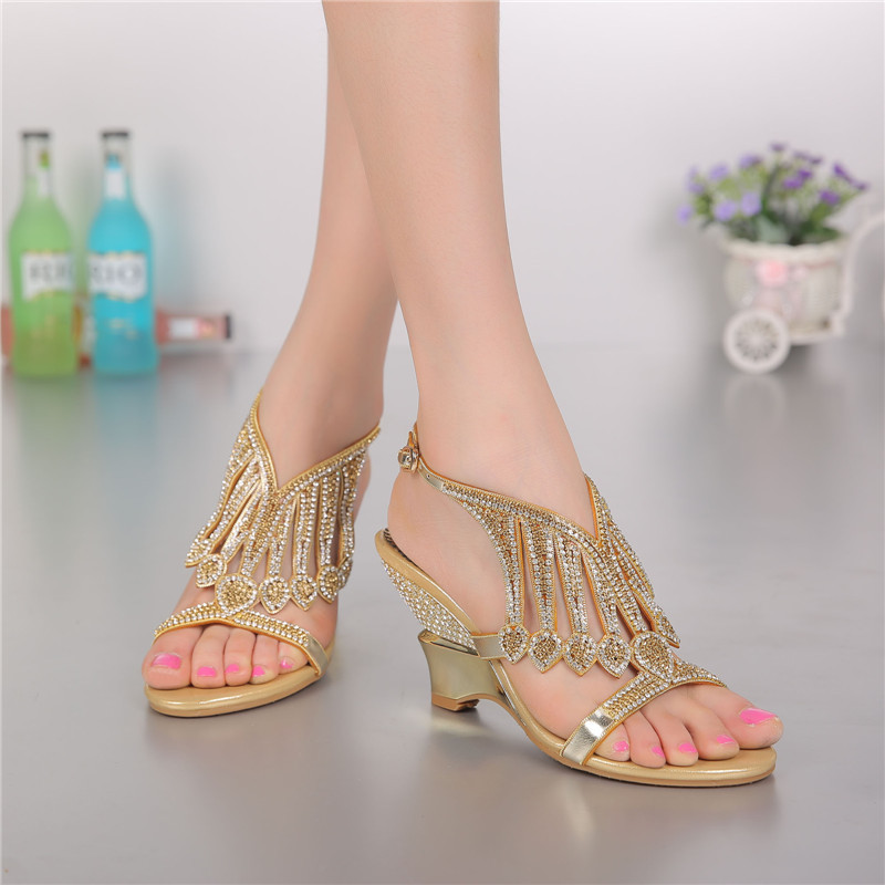 2018 Summer Style Gold Coloured High Heeled Sandals Rhinestone Wedding  Shoes Size 11 Diamond Buckle Women