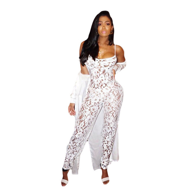179b8f8cb8 Summer White Lace Jumpsuit Women Strap See Through Bodysuit Sexy Romper  Sheer Bodycon Rompers Womens Jumpsuit Club Party Outfits