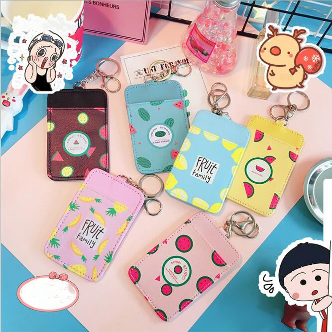 1 Piece PU Leather Kawaii Cartoon Fruit Metro Bus IC Card Case Credit Bank  ID Card Cover Holder Stationery Accessories