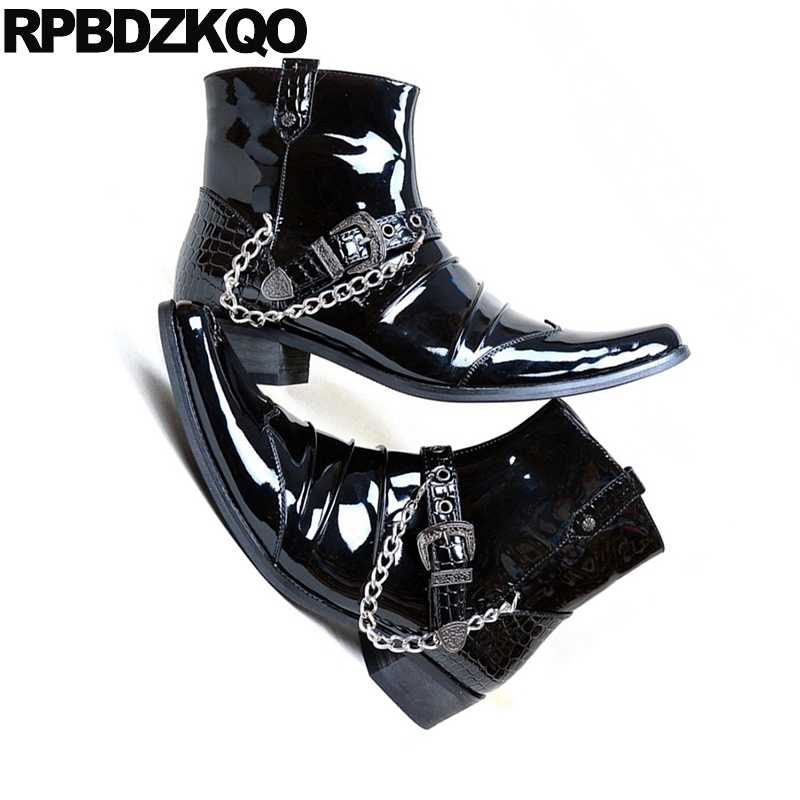 d2e9b5c841b High Heel Punk Shoes Mens Black Patent Leather Boots Booties Pointed Toe  Snakeskin Ankle Metalic Dress Motorcycle Runway Chunky