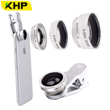 KHP 3 In 1 Universal Phone Lens Clip camera Mobile Phone Lenses For iphone 4 4S 5 5S 6 6S Samsung Galaxy S5 Fish Eye+Macro+Wide