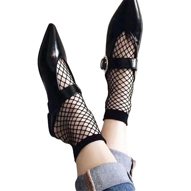Moda negro nylon fishnet Calcetines mujeres tobillo peces Net ...