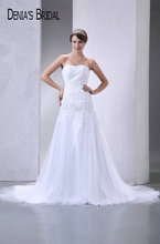 Actual Images Strapless A-Line Wedding Dresses Pleats Appliques Floor-Length Chapel Train Long Bridal Gowns