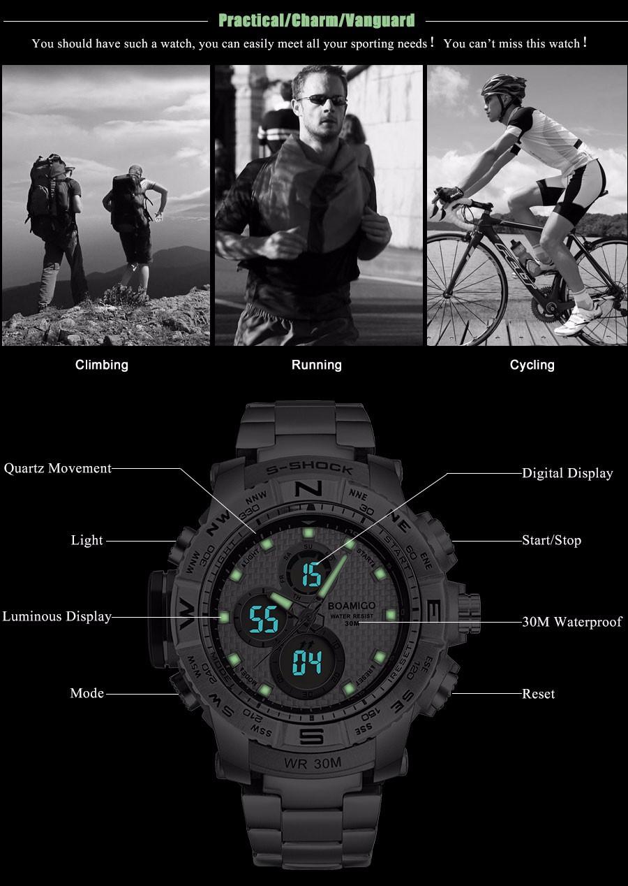BOAMIGO Fashion Sport Man Watches Stainless Steel LED Digital Watch Analog Quartz Movement Waterproof Dual Display Wristwatches (1)