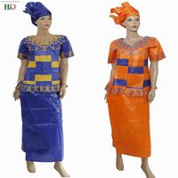 H&D african dresses for women 2018 Riche Bazin Fabric Cotton dashiki women tops skirt suits two 2 pieces set africa style