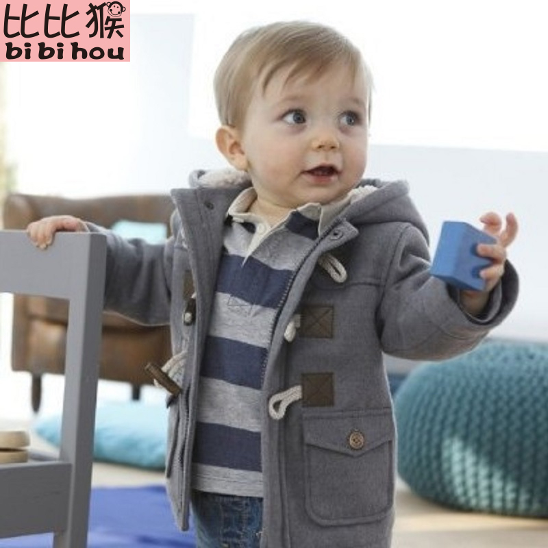 2017 Christmas Toddler Baby boys Winter Warm Outerwear Thicken Hooded faux leather Fleece Jacket Outfit Overcoat Parka Snowsuit flap pockets hooded faux leather jacket
