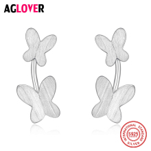 Elegant Double Butterfly 925 Sterling Silver Stud Earrings For Women Sanding Process Jewelry
