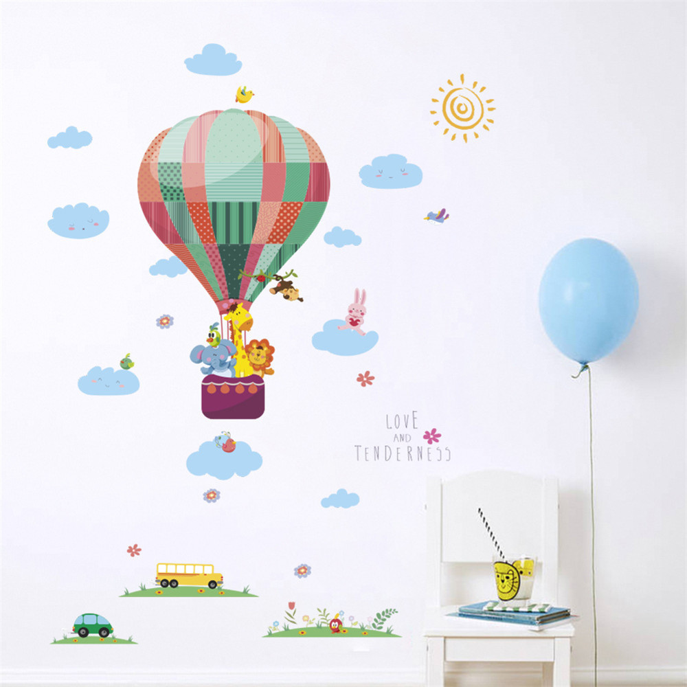 Stickers Grass Hot Air Balloon Small Animal Painting