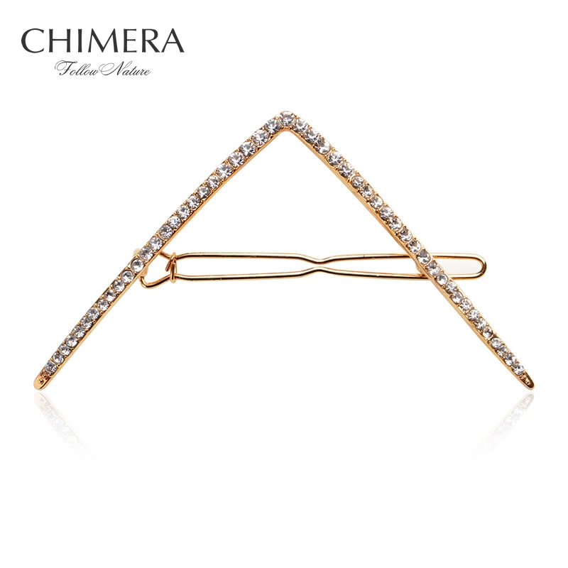 Geometry Triangle Hair Clip for Women Hair Accessories Bling Full Crystal Side Clip Hair Barrette Hairpin Hairclips 3150166
