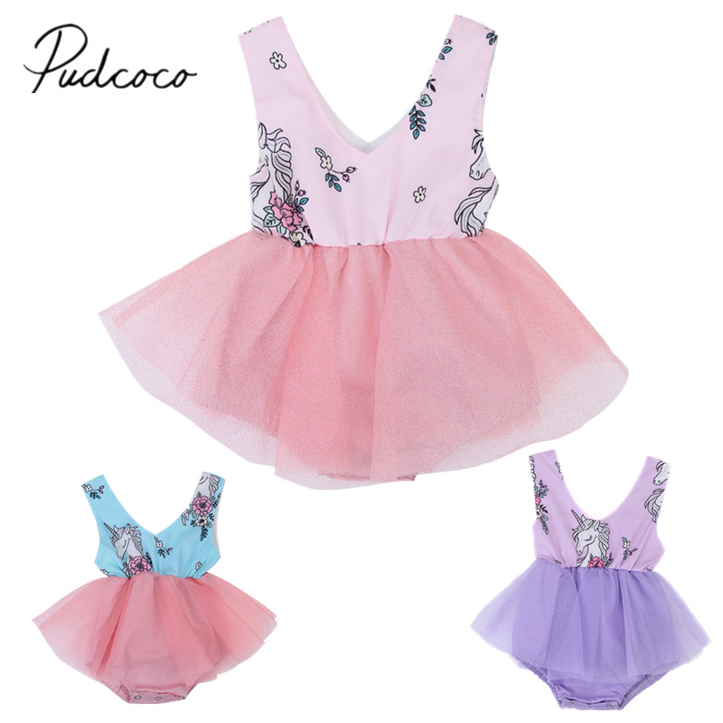 2018 Brand New Toddler Infant Cute Newborn <font><b>Baby</b></font> Girls Summer Unicorn Lace Tutu Romper <font><b>Fancy</b></font> <font><b>Dress</b></font> Cartoon Sleeveless Sunsuit image