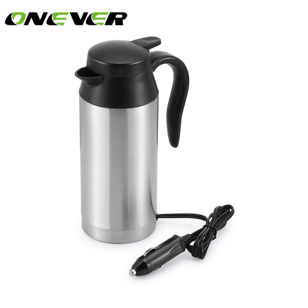Onever High Quality Stainless Steel Car Electric Kettle with Sealed Rubber Band  Car Auto Adapter Heating Cup 12V 750ML kettle