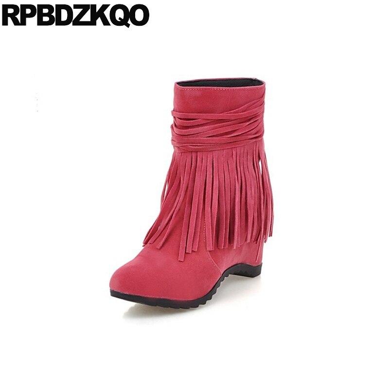 где купить 10 Women Ankle Boots 2016 Round Toe Shoes Big Size Kawaii Autumn Hidden Slip On Wedge Suede Tassel High Heel Fur Winter Fringe по лучшей цене