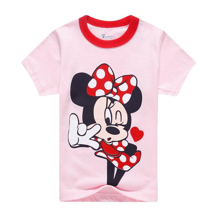 Summer minnie mickey mous cartoon miki short sleeve baby girls tee kids t shirt children basic clothes pink clothes 2 to 7 yrs cartoon