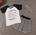 2016 roupas de bebe baby girls clothing sets short T-shirt+striped skirt +hairband 3pcs set kids children clothes set suit