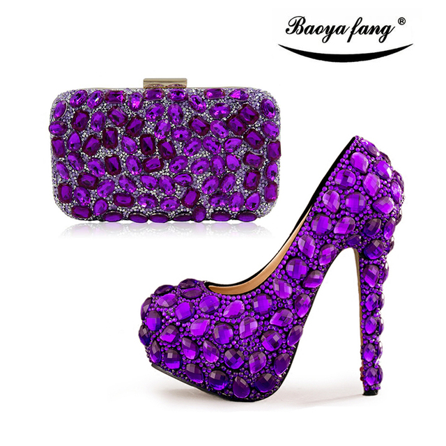 Purple Women Wedding Shoes High Heels With Matching Purse