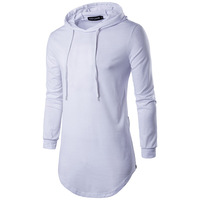 2018 Spring Autumn New Men Sweatshirt Long Sleeve Mens Casual Slim Hooded Pullover Fashion Solid Color