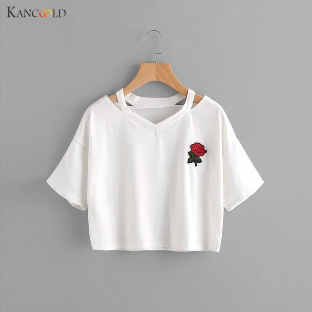 168a753f 2017 Fashion Summer Floral Embroidery Rose Print White T Shirts Women Short  Sleeve Tops Tees Casual