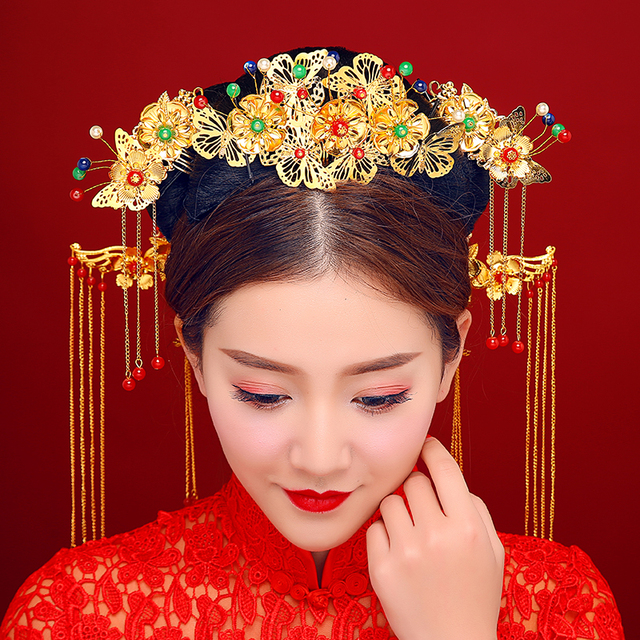 Chinese Brides Tassel Wedding Hair Ornaments Costume Queen ...