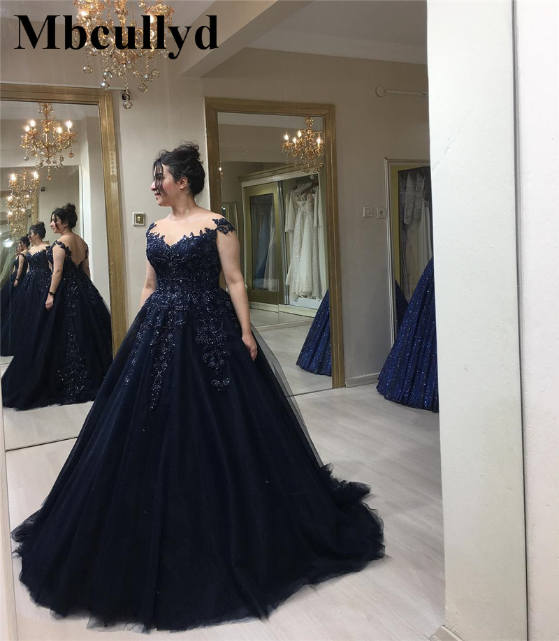 Mbcullyd Ball Gown Navy Blue   Prom     Dresses   2019 New Long Sweep Train Arabic Evening Gowns Applique Lace Tulle vestidos de festa