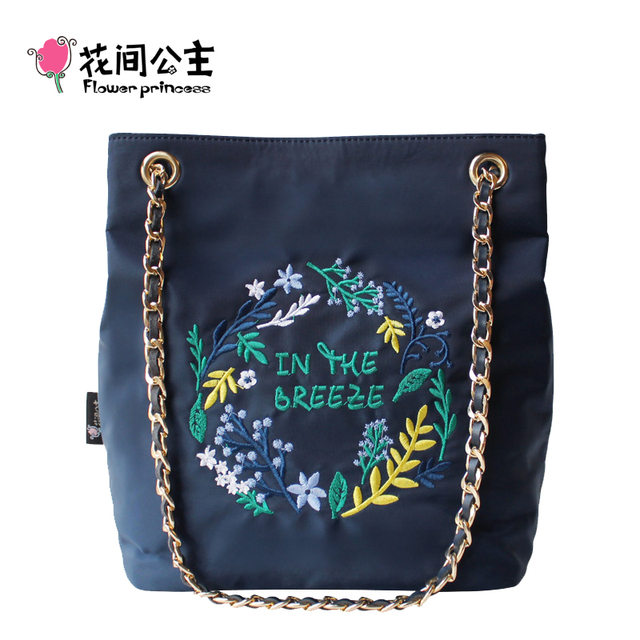 4ad619163a Flower Princess Embroidery Chian Bags Women Bucket Nylon Adjustable Bag  Woman Floral Shoulder Crossbody Bags Messenger